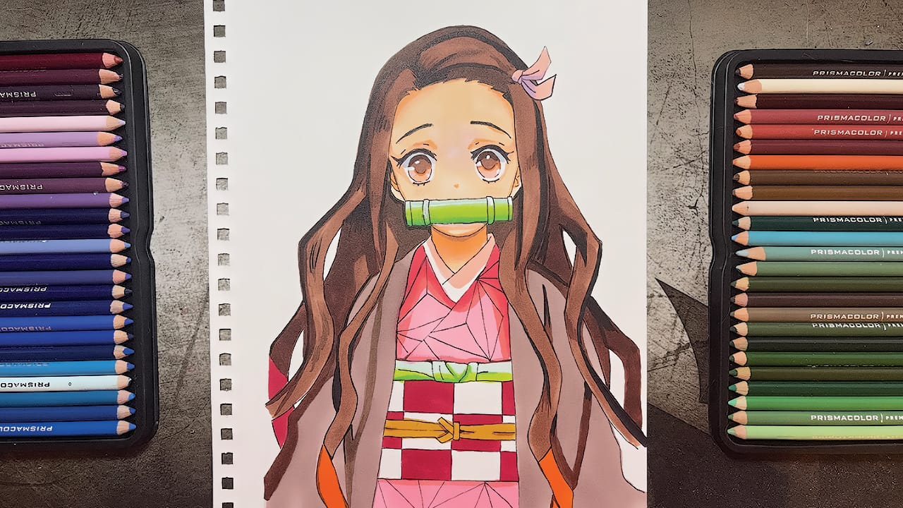 Nezuko Illust of Clover traditionalart coloredpencil Animemangadrawing KimetsunoYaiba fanart KamadoNezuko