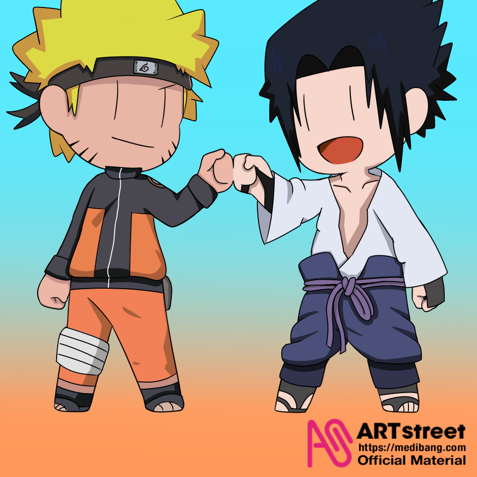 Naruto and Sasuke Illust of Yhurie tracedrawing2 medibangpaint Trace&Draw【Official】