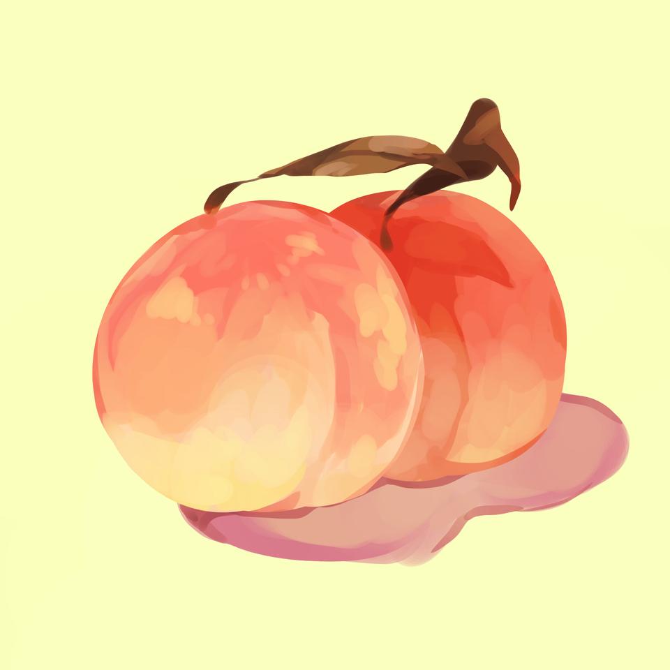 Peaches Illust of Mumechi medibang iPad_raffle illustration foodi medibangpaint\ kawaii cute llust foodillust peach