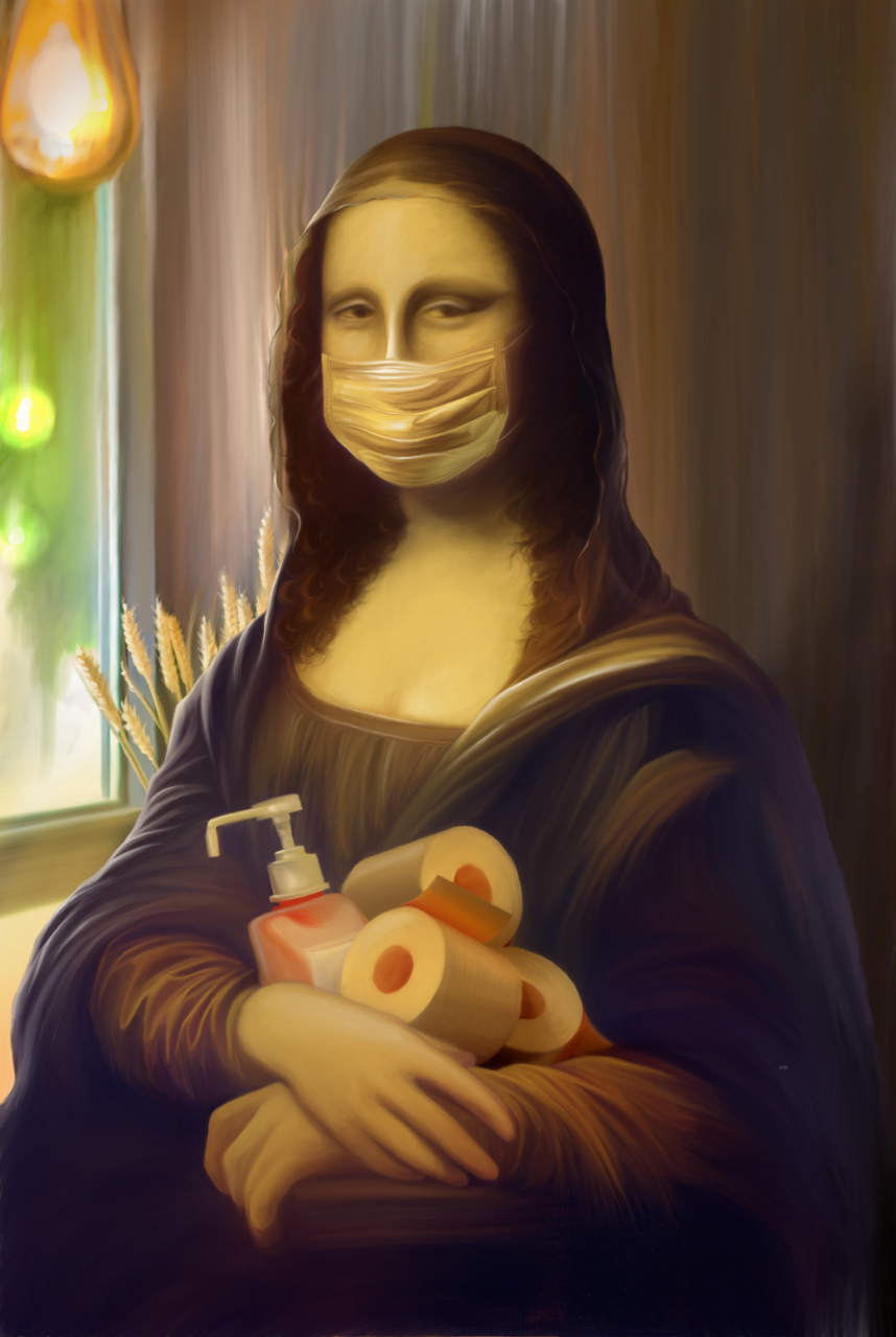 Mona Lisa Stay at Home Illust of muna May.2020Contest:Cheering ARTstreet_Ranking April.2020Contest:Color mask MonaLisa illustration YourMom OMG 多媒材 笑い SAMSUNG stayhome COVID19