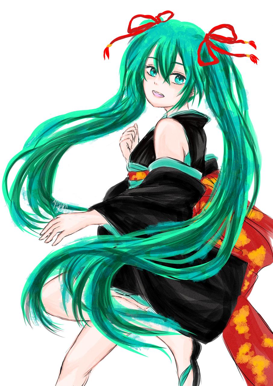 くノ一ミクさん(背景なし) Illust of 嫺やか medibangpaint VOCALOID kimono hatsunemiku くノ一
