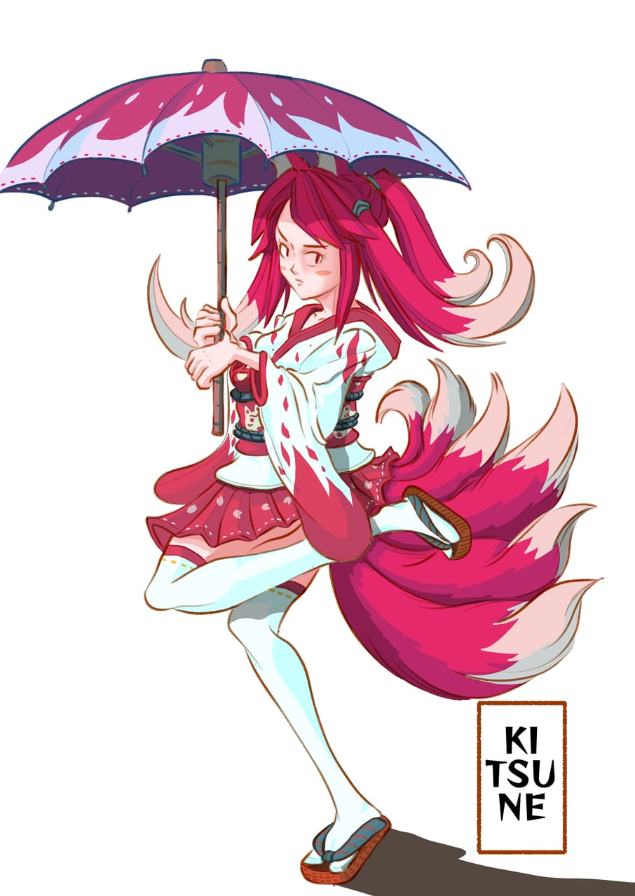 JAPAN FOX DEMON(KITSUNE)) Illust of Wutikai March2021_Creature girl Japanese_style yokai cutegirl oc kimono sexygirl fox monster