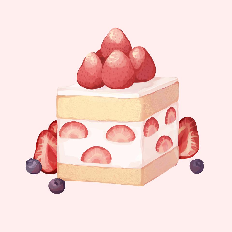 strawberry cake Illust of Mumechi art iPad_raffle illustration cake sweet anime pink artistcolo artist cute