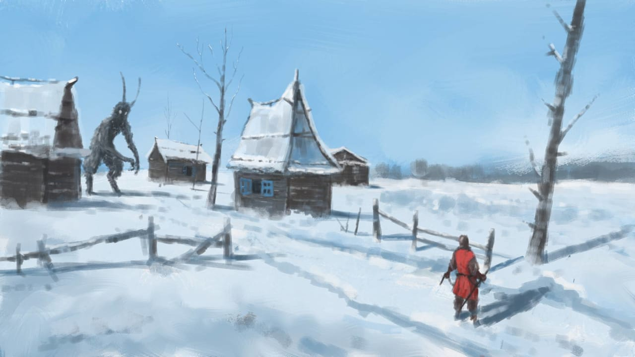 Winter Hunt Illust of RichardBennet digital art scenery winter medibang medibangpaint Conceptart creature snow