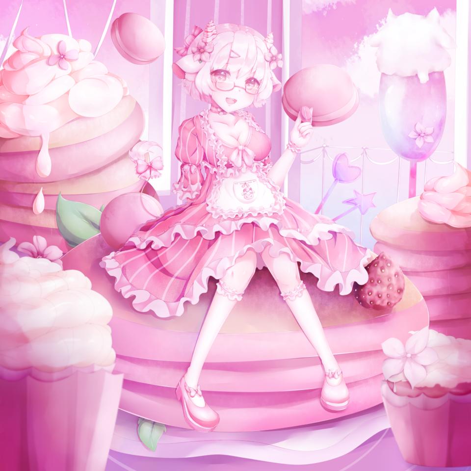 Pink Aesthetic Illust of hebeta pink girl oc manga art illustration MyArt digital cute