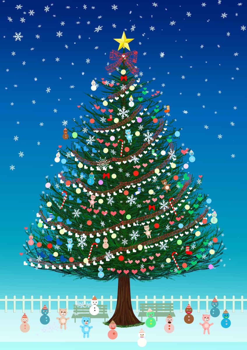 クリスマスツリー Illust of beach st Christmas 夜空 テディーベア 雪だるま star ハート クリスマスツリー クリスマス好きかい?