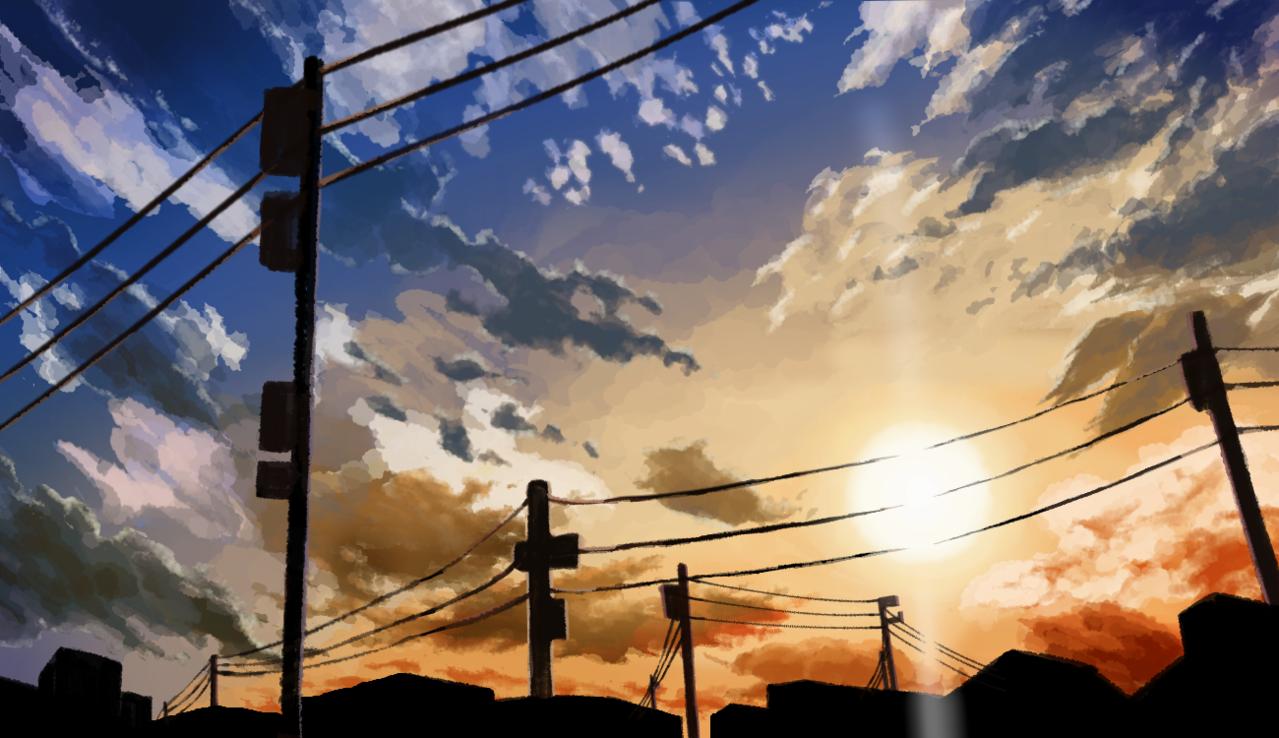 夕焼け Illust of キリコエコ scenery sky 夕焼け空 sunset 夕焼け背景