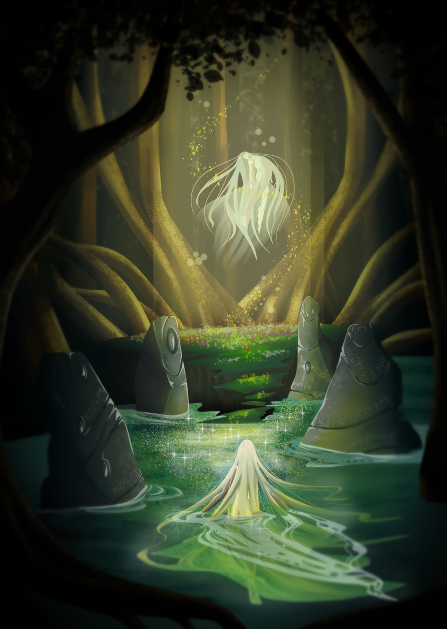 Rincon de las ninfas Illust of DANNARTWORK February2021_Fantasy character Fantasía(10+) drawing concurso personaje original illustration ligth Oc's ilustration
