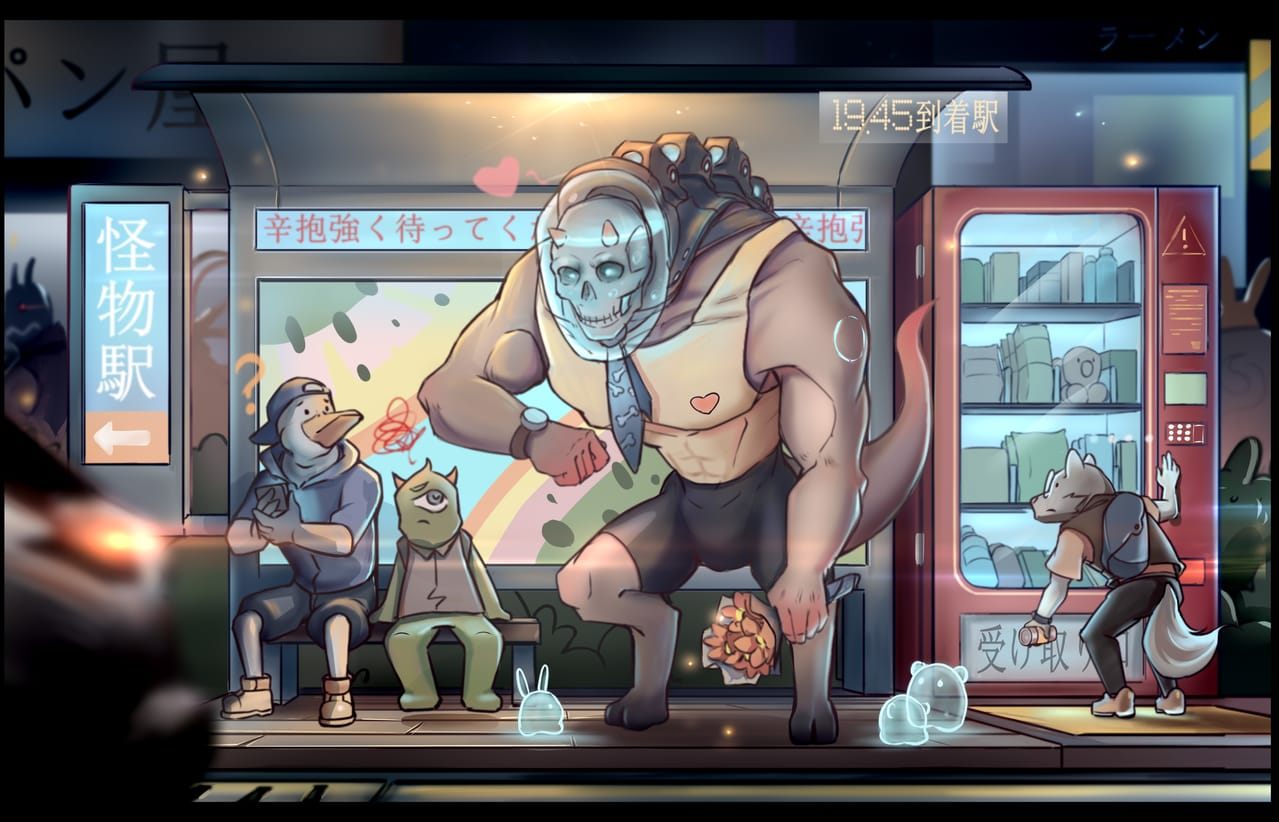 Monsters waiting for the bus Illust of 六妖 March2021_Creature illustration
