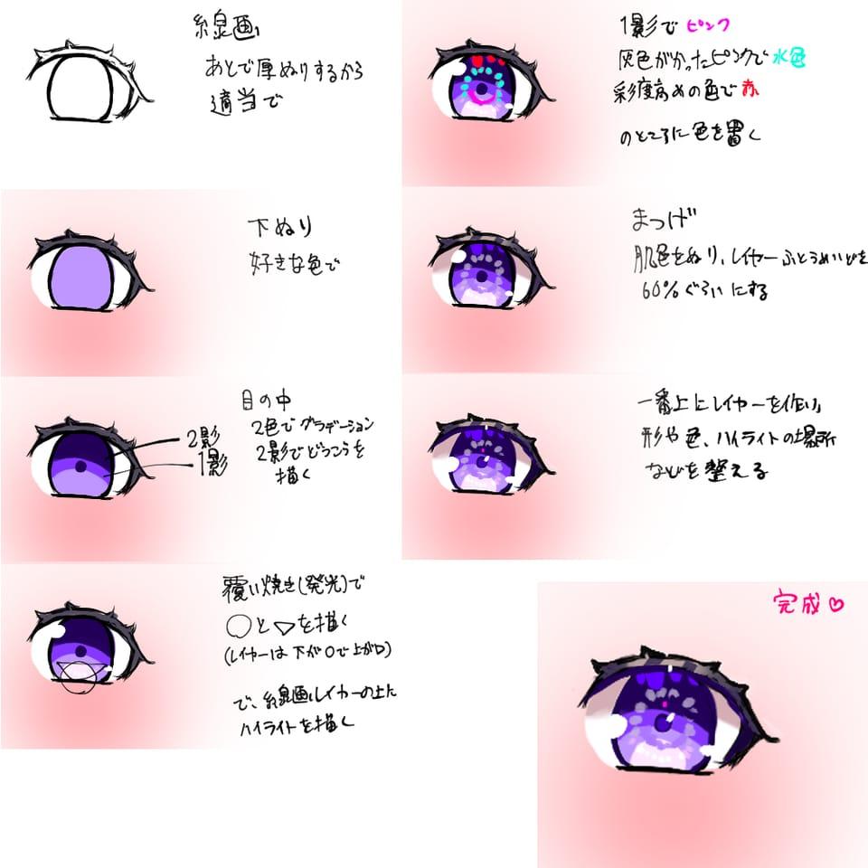 making Illust of おみそ#田舎同盟 The_Challengers illustration impasto MyArt purple color おみそのお絵かき広場 CLIPSTUDIOPAINT making eyes kawaii