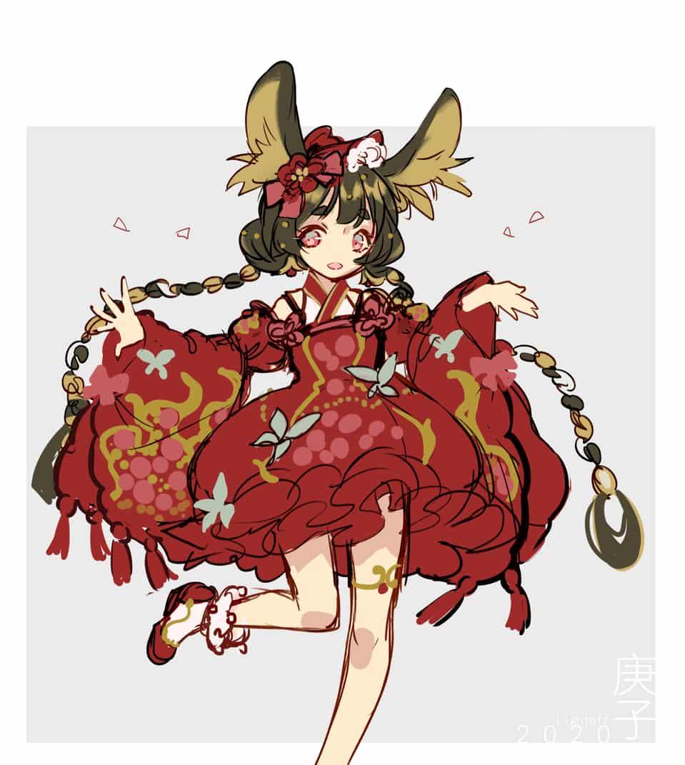 ✿庚子鼠鼠年年糕❀ Illust of 燈無 doodle 新人設 girl 老鼠 newyear cute illustration 服裝設計 生肖 oc