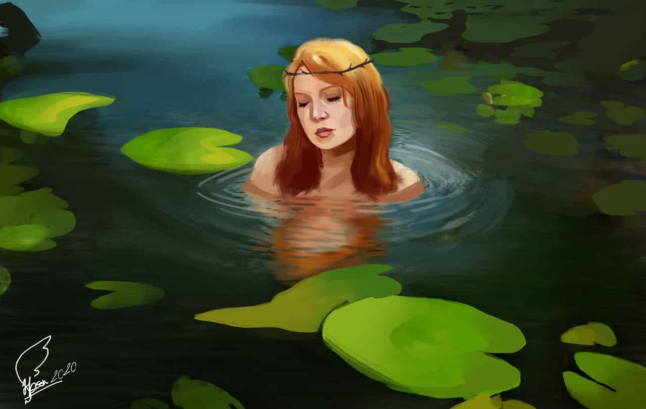 The sad lady of the river Illust of hosein memarzade sea lady river sad lotus