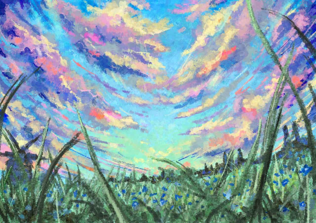 幻想雲 Illust of 深海碧 草原 sky scenery background original clouds