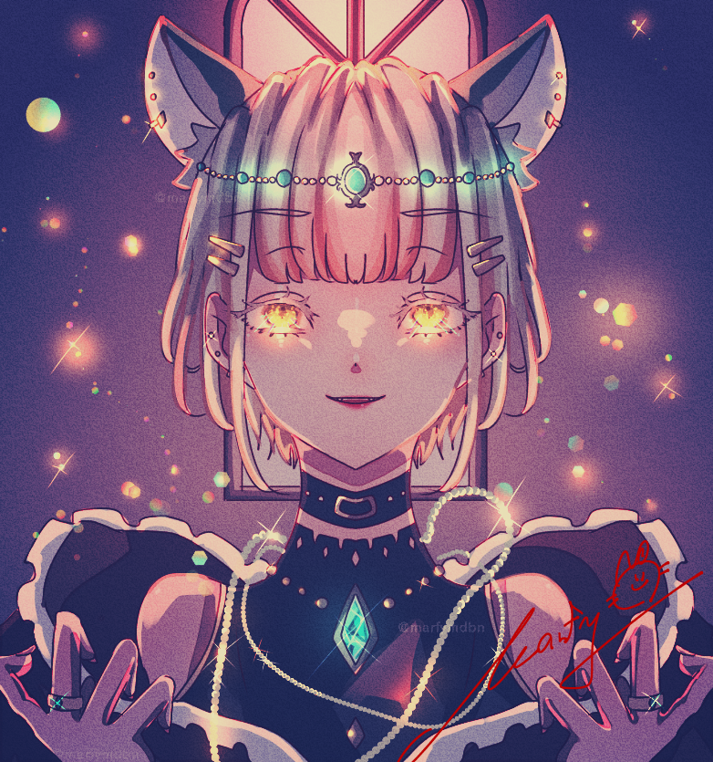 noble Illust of Marfy 宝石 メルヘン purple portrait cat_ears girl きらきら kawaii blonde