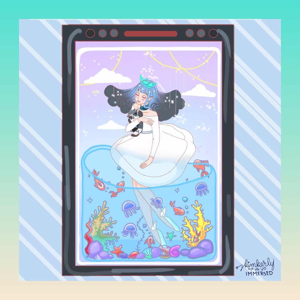 IMMERSED Illust of K.art HuionDesign medibangpaint dreamlike blue Dream kawaiigirl medibang cute huiontablet crown sea