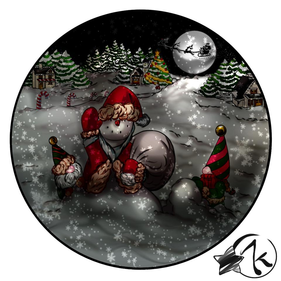 snowman Illust of Karenhc December2020_Contest:Santa art Navidad drawing snow night cute snowman illustration friend color digital