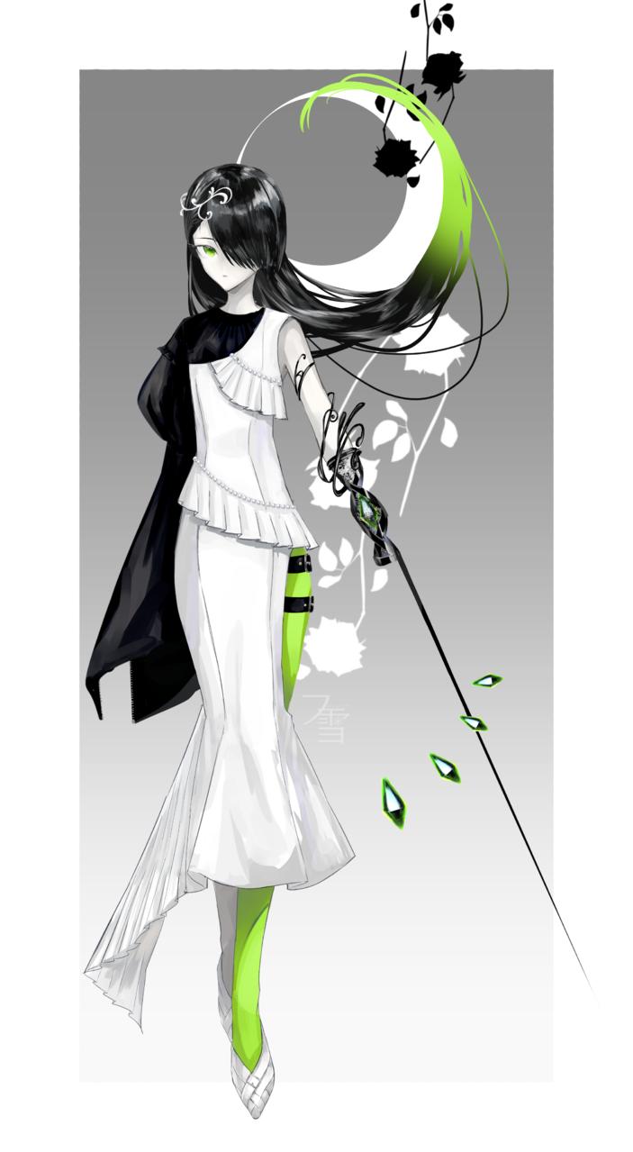 monotone×green Illust of フ雪 黒髪 Personification green oc illustration girl blackandwhite design original
