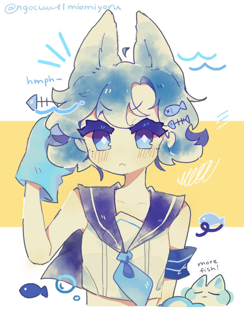 Blue catto (=^・ω・^=) Illust of Mio Miyoru blue なんか色の塗り方がいい cat beautiful cute cat_ears girl colorsketch digital art