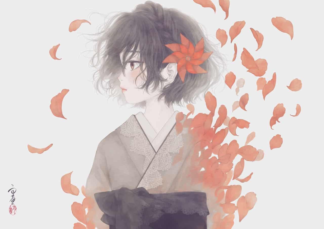 余命 Illust of 丑山雨 girl メディバン flower 黒髪 kimono medibangpaint