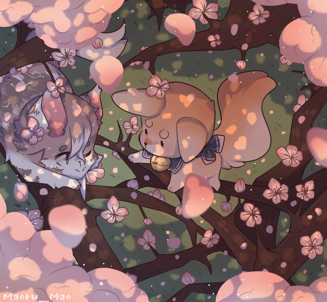Lazing in the sakura tree  Illust of souq Original_Illustration_Contest sakura animal fennecfox medibangpaint pink cat oc cute