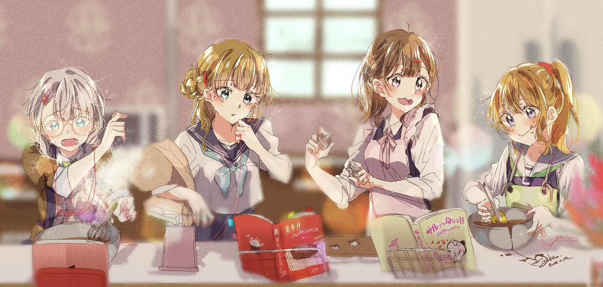 想いを込めて Illust of 星野 ゆか@再浮上 uniform girl きらきら red glasses みつあみ Valentine original