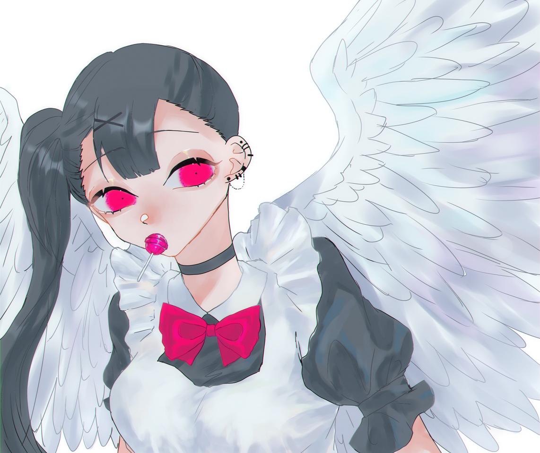 「浮かれてんな……ですわ」 Illust of OHTEAOH 小5#腐女子同盟 maid pink wings girl white