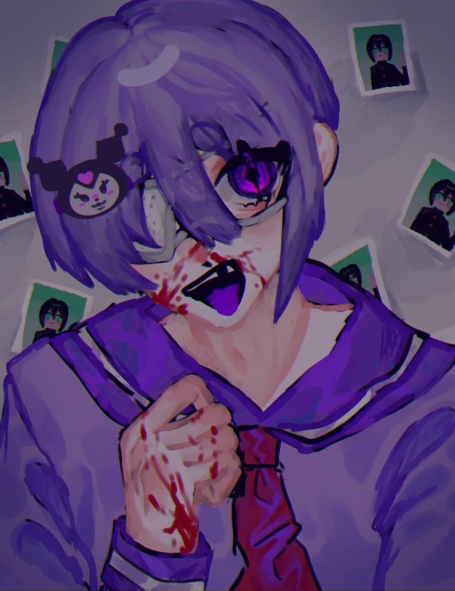💜🍼👻 Illust of OHTEAOH 小5 purple boy まろまゆ 厚塗り風 eyepatch blood ク◯ミ ケチャップ 返り血