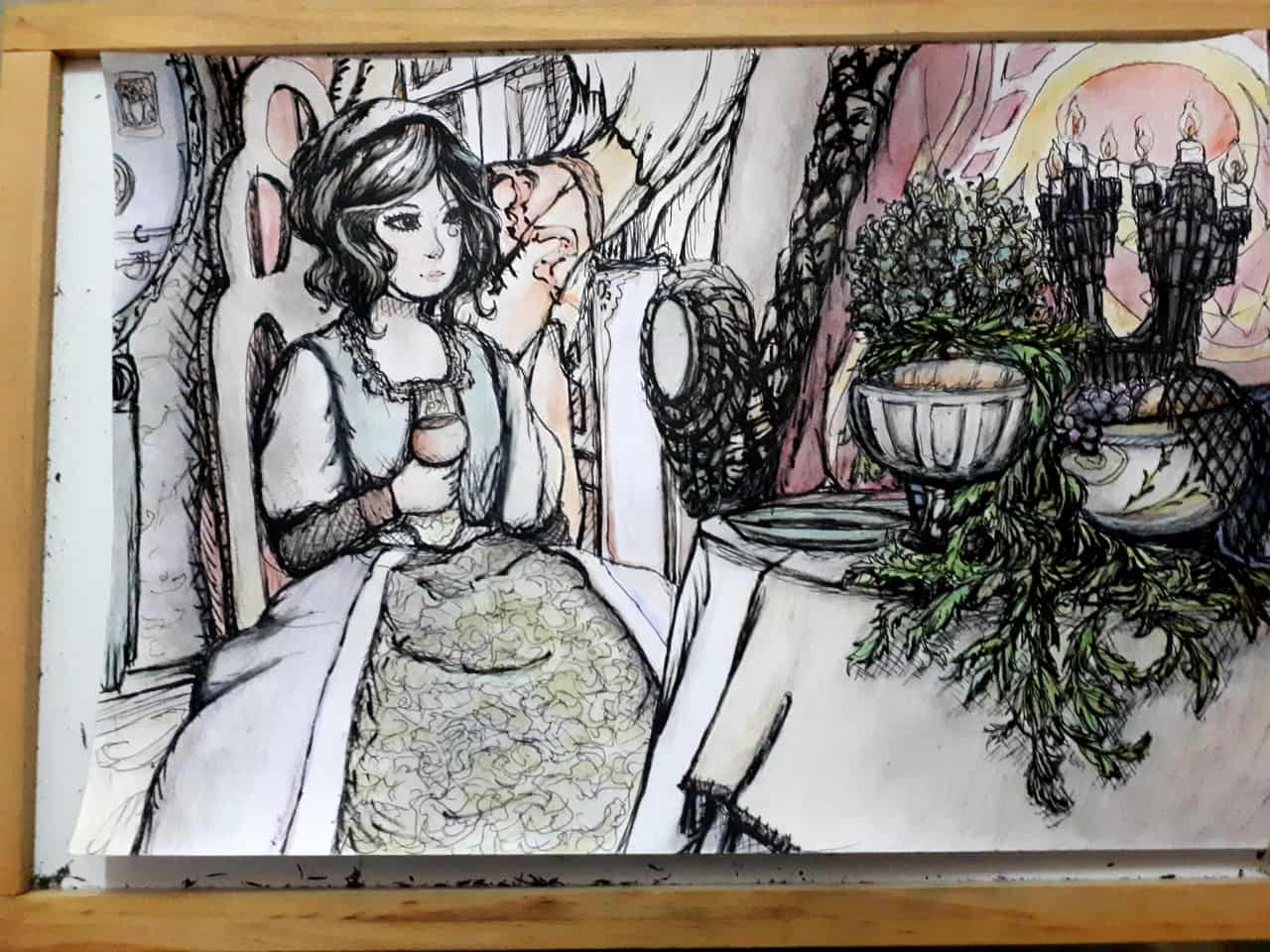 Someone somewhere in silence Illust of GinaB pastel illustration oldfashioned watercolorpencils dress woman dining Brushpen traditional