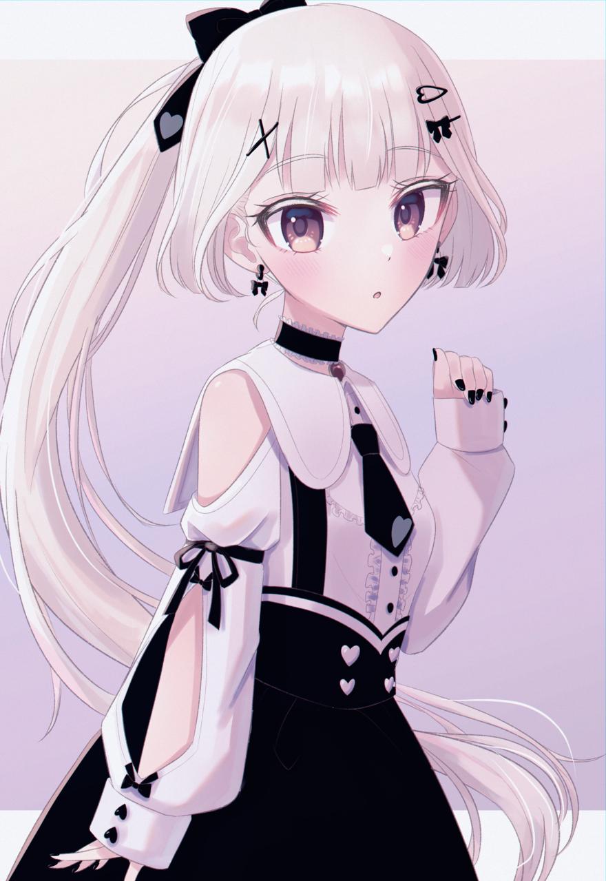 ポニテシャルムちゃん Illust of じゅにねう kawaii girl Fanstic ponytail original white_hair