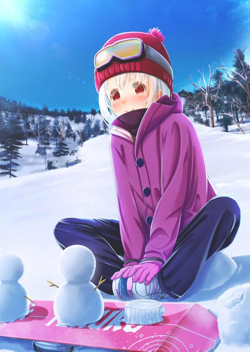スノーボードで遊ぼう Illust of あいうあぼ 雪だるま girl スノーボード original
