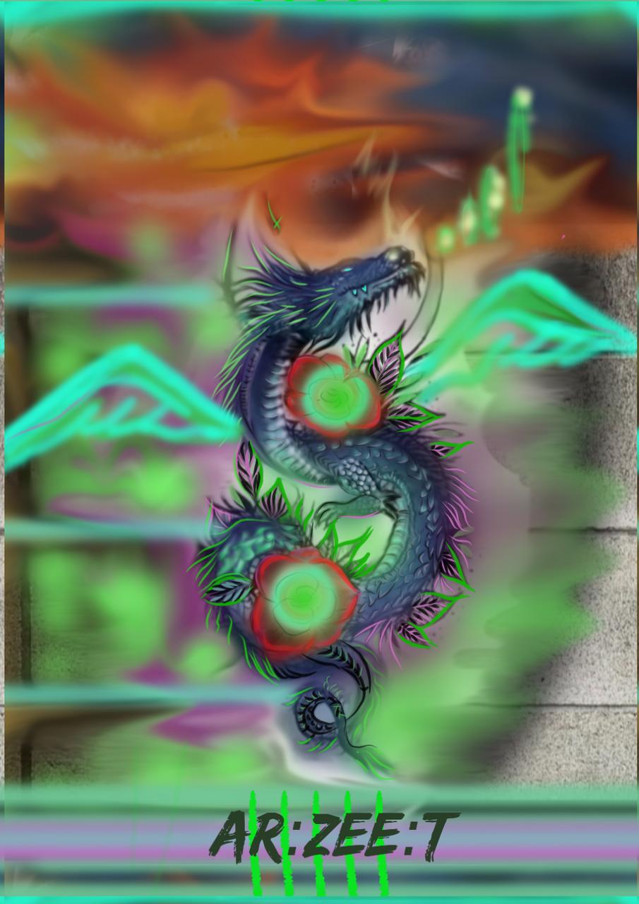 Azure Dragon Illust of Ar:Zee:T June2020_Contest:Street_Art medibangpaint punk blue streetart original mythical
