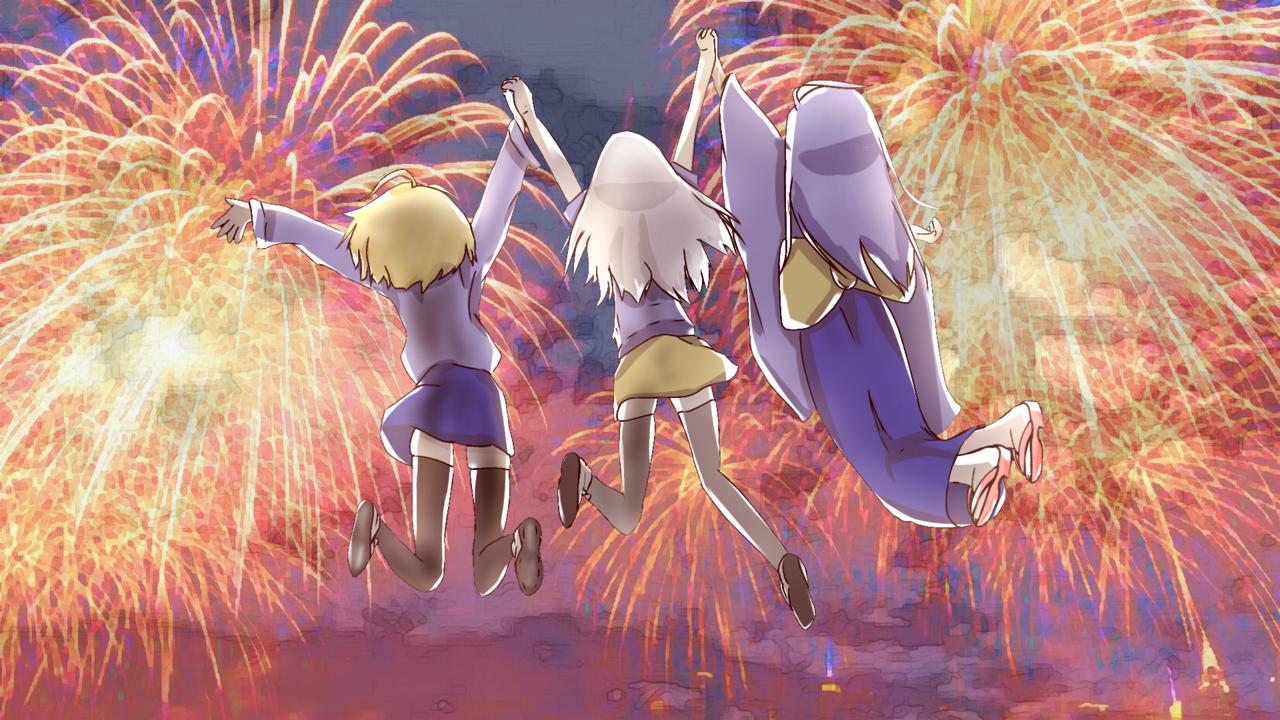 Happy 2nd year anniversary Illust of Nyanpasuuuu~~ July2020_Contest:Anniversary animegirl anime fireworks medibangpaint iPad_raffle Girls