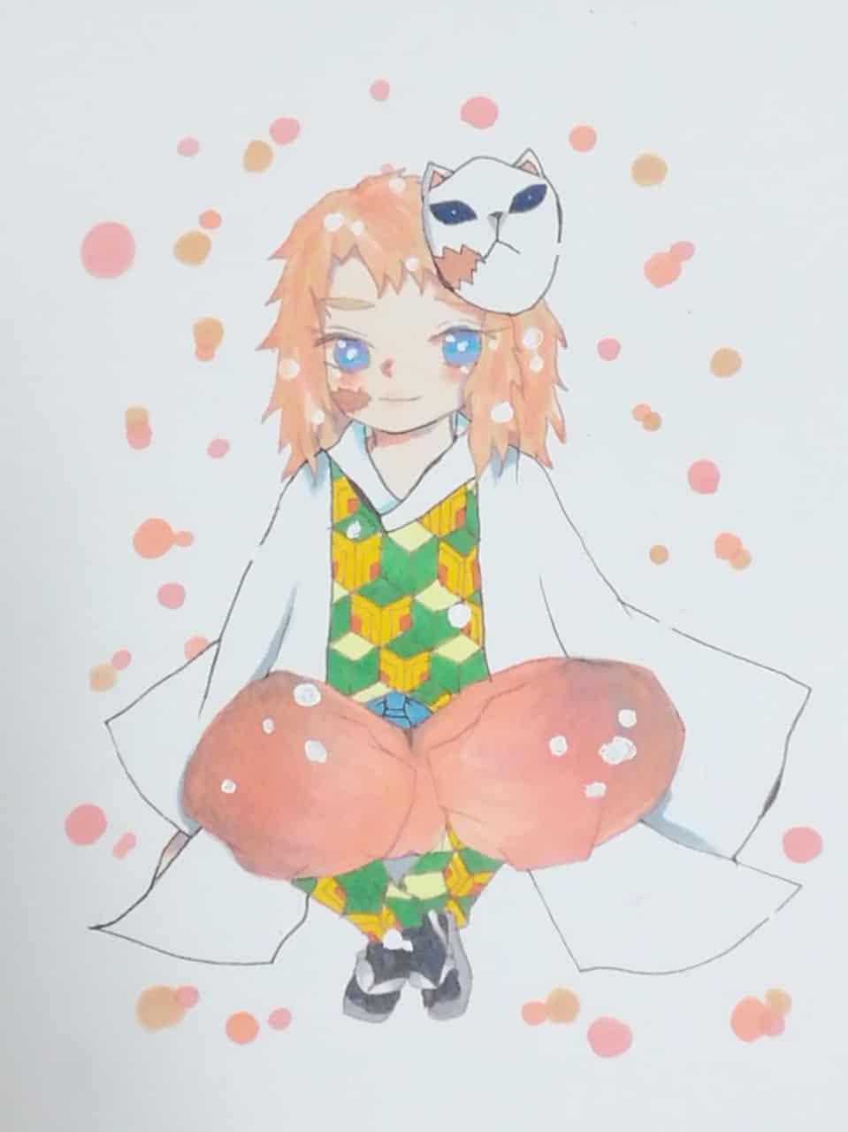 笑顔で座る君 Illust of 。いと。 DemonSlayerFanartContest 錆兎 Copic KimetsunoYaiba