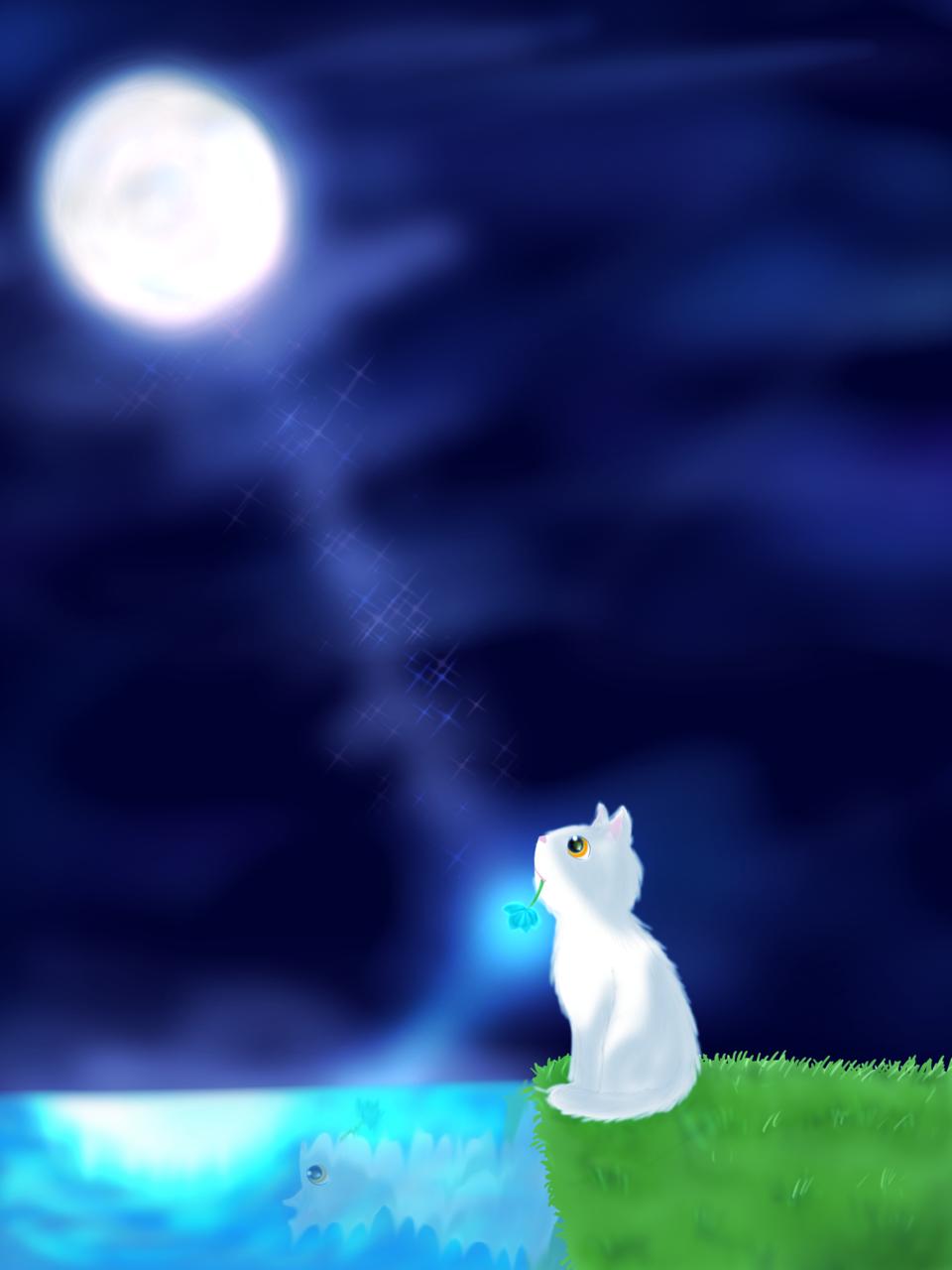 月下に輝く碧花の奇跡 Illust of ちを Post_Multiple_Images_Contest moon 青い花 cat 銀髪 boy 夜空 girl 奇跡 oc 恋