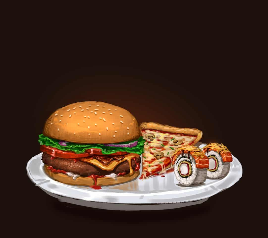 Food Contest by Artzlin Illust of artzlin October2020_Contest:Food pizza anime foodpainting Sushi food animefood Hamburger