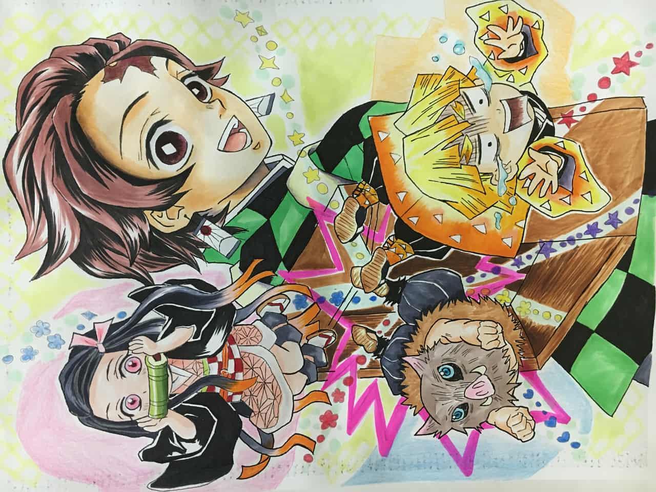 箱からかまぼこ隊 Illust of さー子 DemonSlayerFanartContest AgatsumaZenitsu Copic かまぼこ隊 KamadoNezuko KimetsunoYaiba HashibiraInosuke KamadoTanjirou