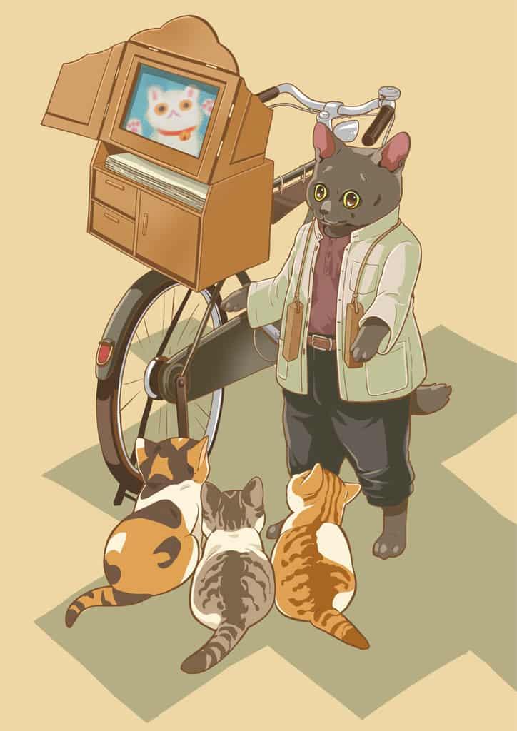 紙芝居にゃさん Illust of 砂虫隼 昭和 cat oc 生き物 レトロ original