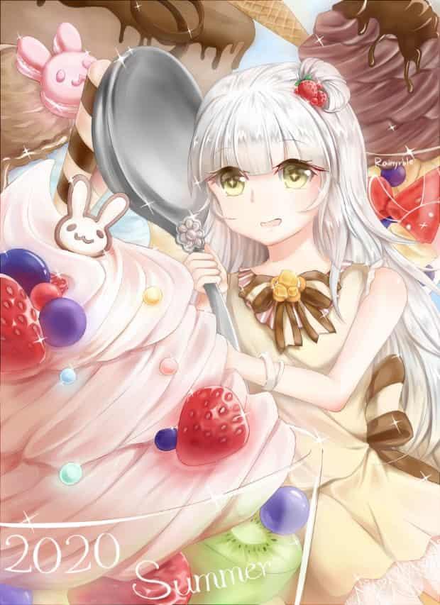 2020 Summer Illust of 雨兔 ice-cream girl 日系 illustration summer 甜點 food