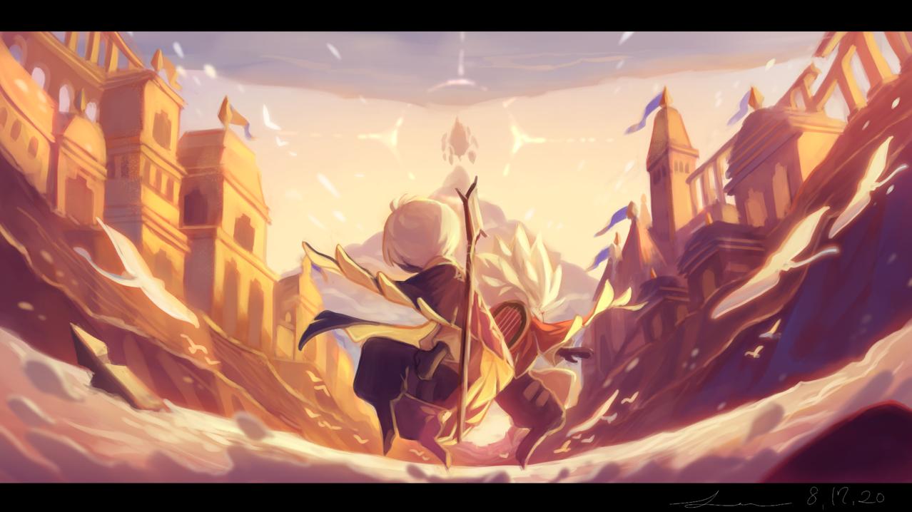 「黄昏色の勝利」 Illust of 星灯れぬ 風景画 sunset skychildrenoflight sky星を紡ぐ子どもたち scenery thatskygame