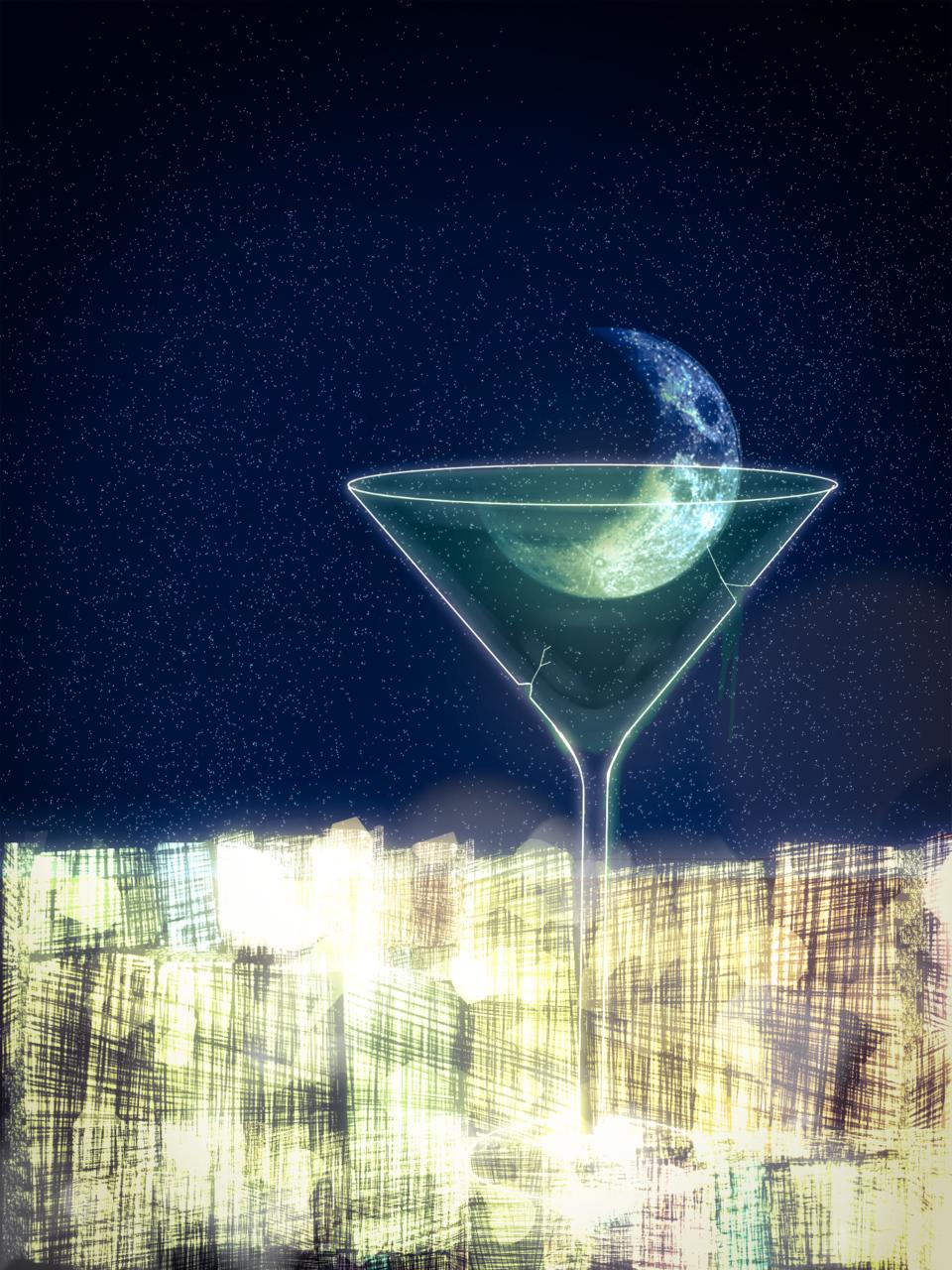 月のカクテル Illust of 執抖 moon painting scenery night illustration sky background art