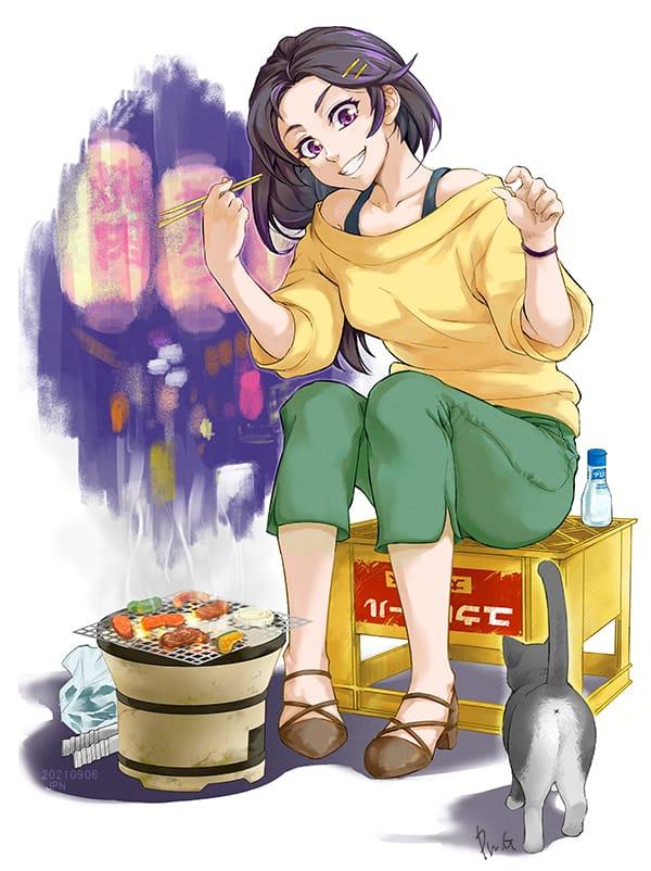 一人といっぴき女子会 Illust of PN.G September2021_Girl 女の子イラスト original illustrations