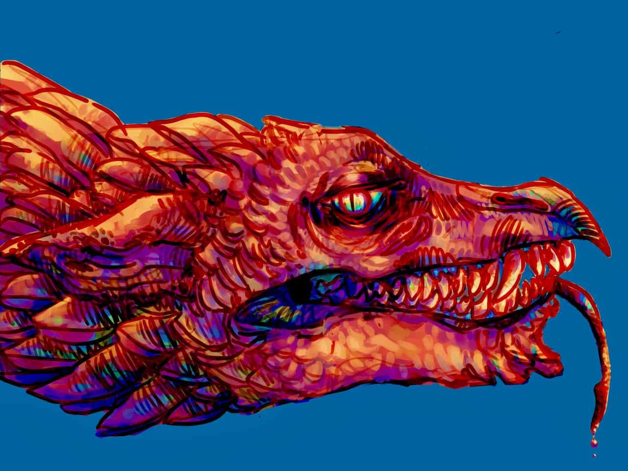 Technicolor Terror Illust of CaputMortuum Monsters dragon Gargoyles color