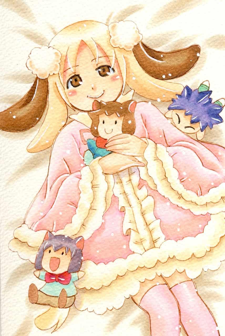 プードル娘さん💘 Illust of おち☆よしかず(Occhiiy:オッチー☆) DOGvsCAT_DOG original dog_ears コピックイラスト オリジナルキャラクター女の子 dog アナログの本気 ワンピース服