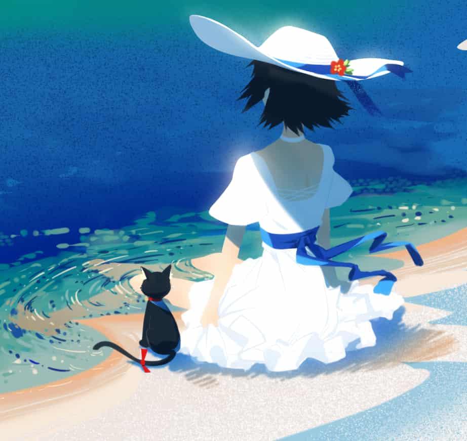 白い砂漠の湖畔にて Illust of cluseller sea cat ワンピース(服) girl