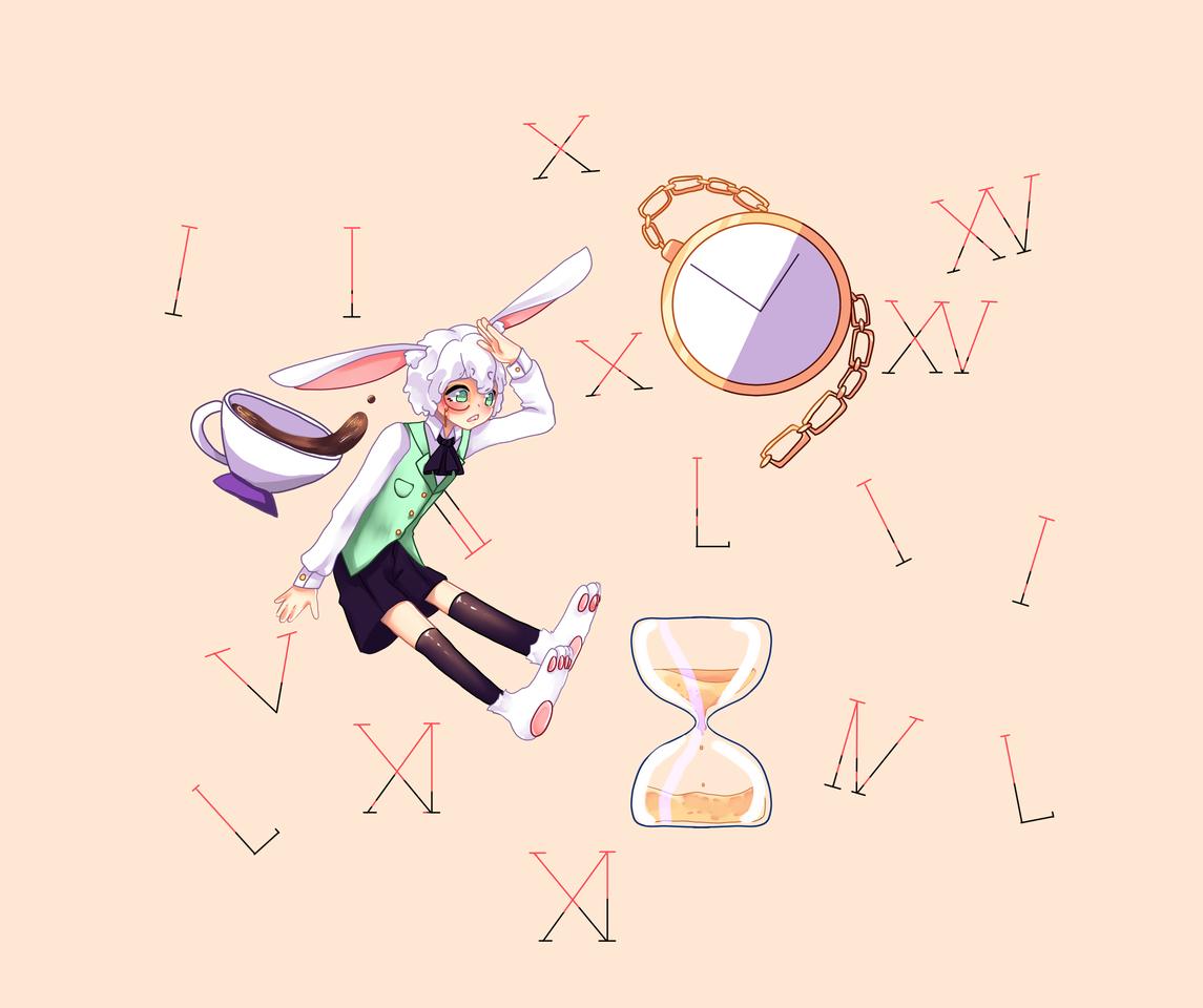 I'm late!! Mask Illust of AwkwardTobi MaskDesignContest AliceinWonderland rabbit bunny