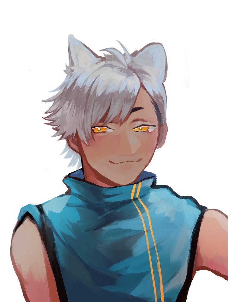 Illust of kurikae medibangpaint 銀髪 animal_ears boy