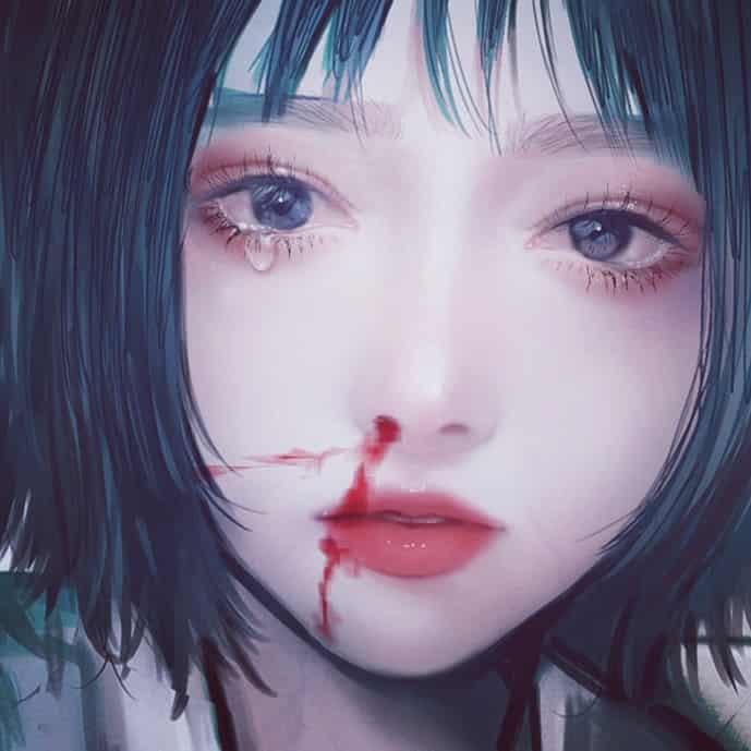 しあわせすぎて泣けちゃうな Illust of logA original girl 鼻血 tears impasto 涙目
