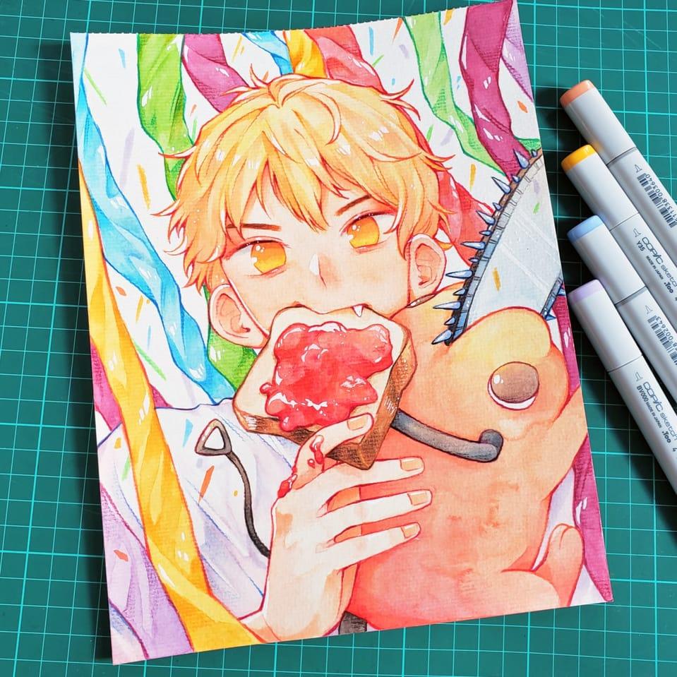 denji and pochita! Illust of nata Copic painting ChainsawMan anime watercolor fanart traditional illustration
