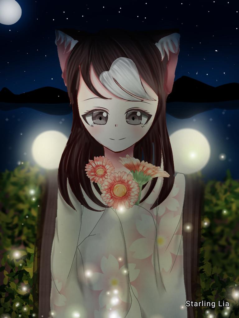 Kimono Illust of Starling Lia >3 flowers kimono catgirl night