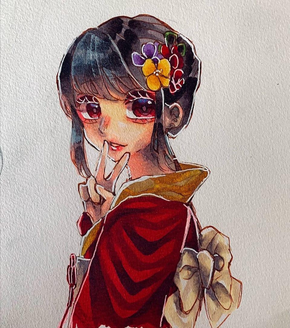 正月(大胆な季節外れ) Illust of フラミパン 黒髪 ピース girl 振袖 oc doodle アナログ 成人式 過去絵 正月
